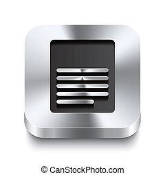 quadrado, metal, botão, -, perspektive, ícone página