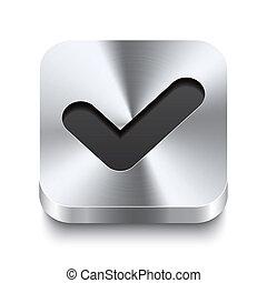 quadrado, metal, botão, -, perspektive, checkmark, ícone