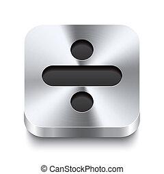 quadrado, metal, botão, -, perspektive, menos, ícone