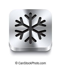 quadrado, metal, botão, -, perspektive, snowflake, ícone