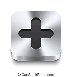 quadrado, metal, botão, -, positivo, perspektive, ícone