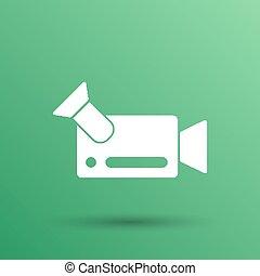 quadrado, metragem, isolado, câmera, camcorder video, ícone