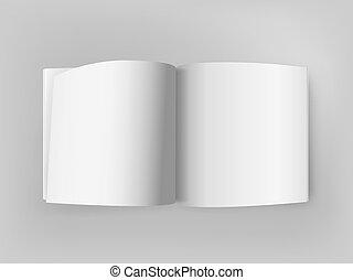 quadrado, mockup, abertos, cinzento, vetorial, branca, tabela., livro