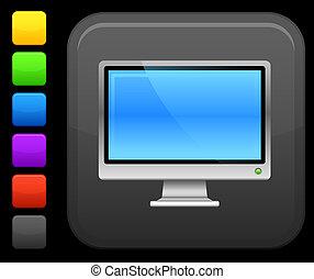 quadrado, monitor, botão, computador, ícone internet