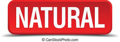 quadrado, natural, botão, isolado, branco vermelho, 3d