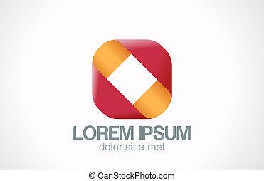 quadrado, negócio, abstratos, vetorial, logotipo, sinal., fita, design.