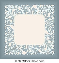 quadrado, ornamento, etiqueta