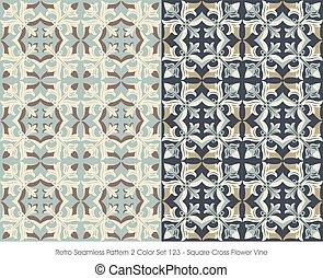 quadrado, padrão, videira, crucifixos, seamless, flor, retro