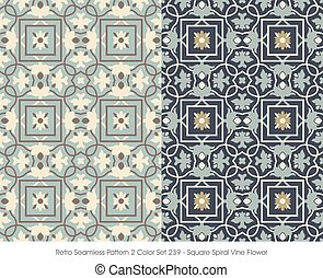 quadrado, padrão, videira, espiral, seamless, flor, retro