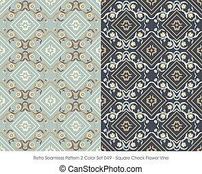 quadrado, padrão, videira, seamless, flor, retro, cheque