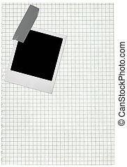 quadrado, papel, página, e, em branco, foto