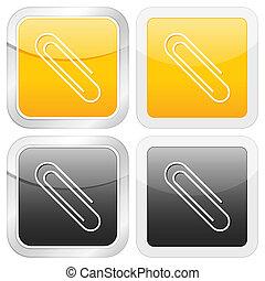 quadrado, papper, clip, ícone