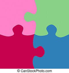 quadrado, partes jigsaw