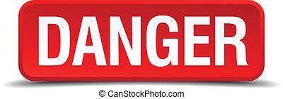 quadrado, perigo, botão, isolado, fundo, branco vermelho, 3d