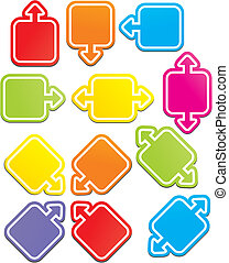 quadrado, ponteiro, coloridos
