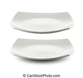 quadrado, prato branco, isolado, com, caminho cortante,...