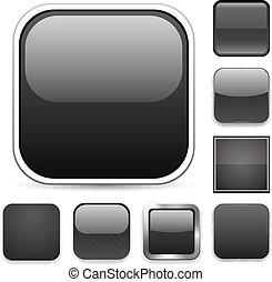 quadrado, pretas, app, icons.