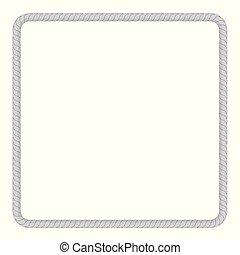 quadrado, quadro, de, cinzento, corda, para, seu, elemento, desenho, isolado, branco