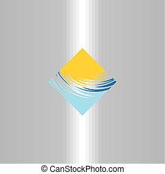 quadrado, sol, abstratos, água, vetorial, logotipo, turismo, ícone