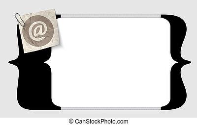 quadrado, suportes, texto, vetorial, entrar, email, ícone