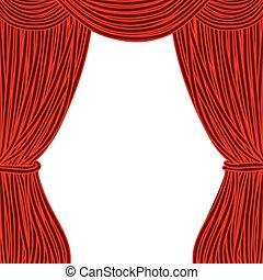 quadrado vermelho, teatro, cortina