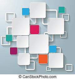 quadrados, coloridos, retângulo