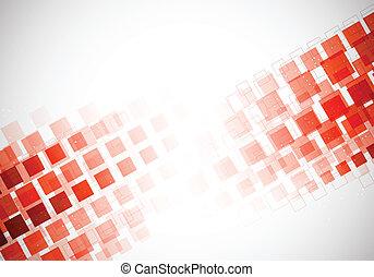 quadrados, fundo, vermelho