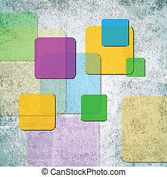 quadrados, grunge, coloridos, fundo