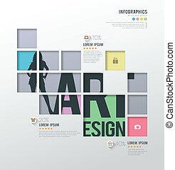 quadrados, modelo, infographics
