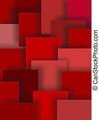 quadrados, sombras, arte abstrata, vermelho