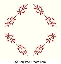 Quadrangular rhomboid decorative ornamental border with corner.