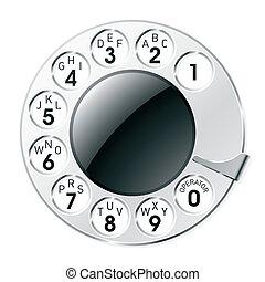 quadrante, retro, telefono