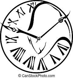 quadrante, silhouette, orologio, parete, isolato, wh, nero, toro