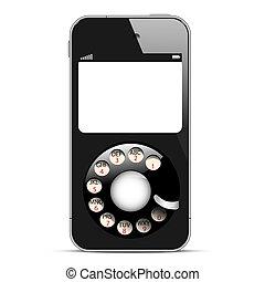 quadranti, mobile, creativo, telefono, disco, retro