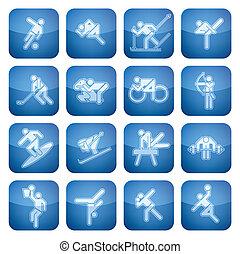 quadrat, 2d, set:, sport, kobalt, heiligenbilder