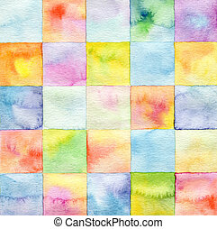 quadrat, aquarell, hintergrund, abstrakt, gemalt