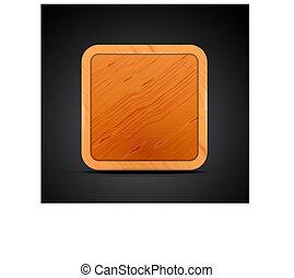 quadrat, beweglich, app, -, holz, design, leer, ikone
