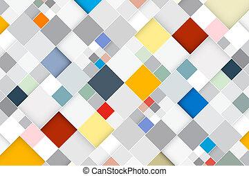 quadrat, bunte, abstrakt, modern, -, vektor, retro, hintergrund