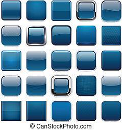 quadrat, dunkel blau, app, icons.