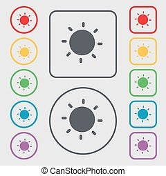 quadrat, frame., sonne, zeichen., symbol, tasten, vektor, runder , ikone