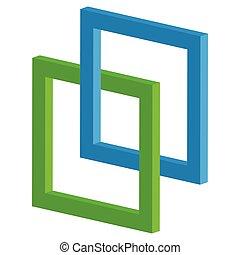 quadrat, ineinandergreifen, ikone, -, verbunden, rahmen, ...