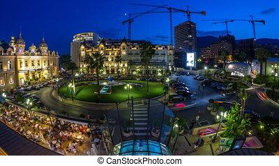 quadrat, mit, großartiges kasino, in, monte carlo, tag nacht, timelapse, monaco., historisches gebäude