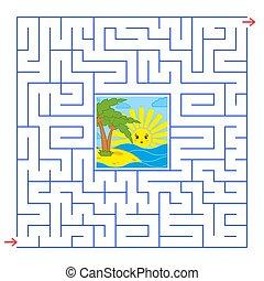 quadrat, nützlich, wohnung, einfache , abstrakt, freigestellt, handfläche, kinder, blaues, labyrinth., interessant, sunrise., bild, zentrieren, bäume, color., spiel, darstellen, karikatur, adults., illustration., vektor