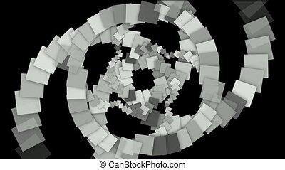 quadrat, papier, geformt, tunnel, wirbel