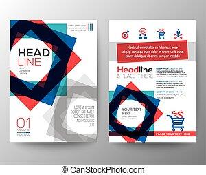 quadrat, plan, hintergrund, plakat, abstrakte form, vektor, design, schablone, broschüre, flieger