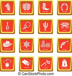 quadrat, satz, heiligenbilder, westen, vektor, wild, rotes