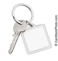quadrat, schlüsselanhänger, haus, eins, schlüsselring