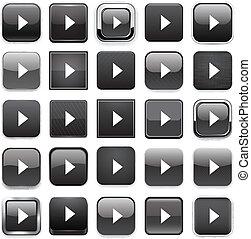 quadrat, schwarzer pfeil, icons.
