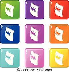 quadrat, schweißen maske, heiligenbilder, satz, 9, farbe,...