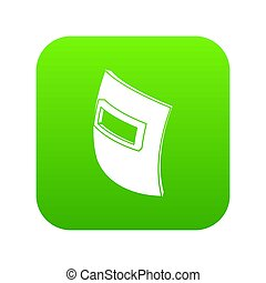 quadrat, schweißen maske, ikone, grün